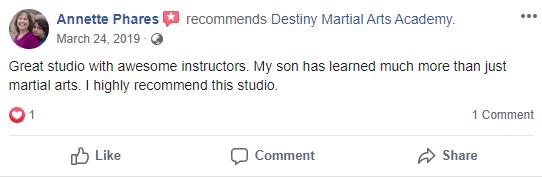 Kids 3, Destiny Martial Arts Academy